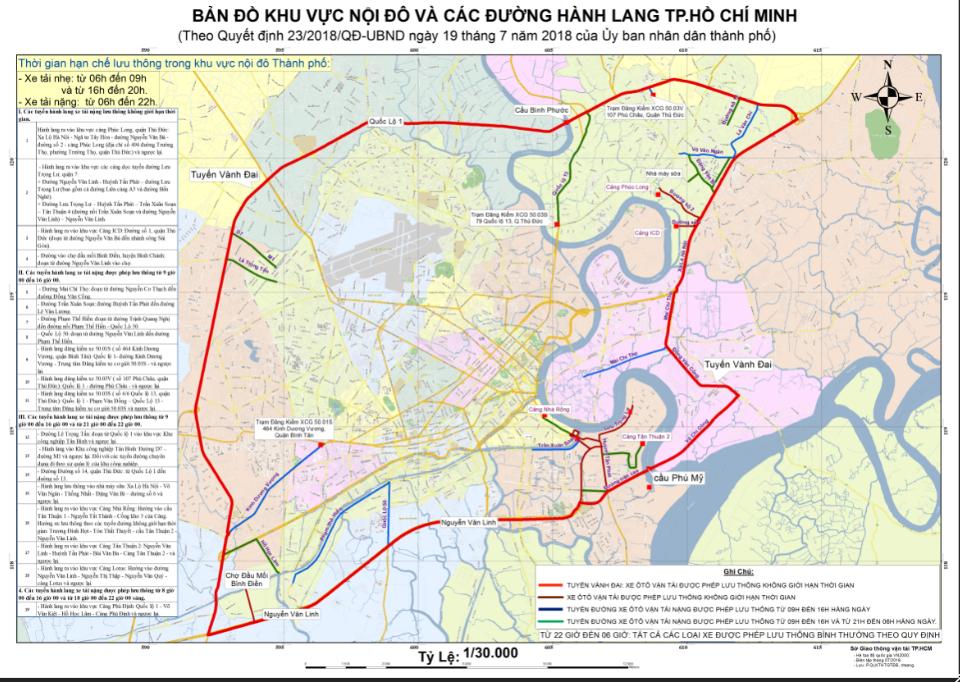 Bản đồ quy định các tuyến đường cấm tải tphcm 2018