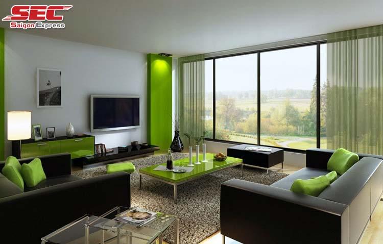 Phong thủy phòng khách màu xanh lá