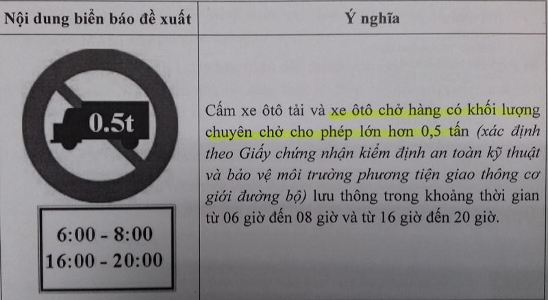Quy định cấm tải xe từ 500kg