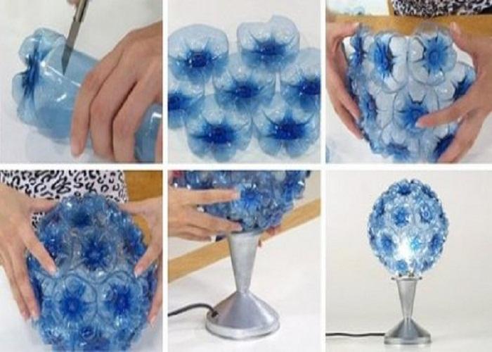 chai nhựa làm đèn trang trí