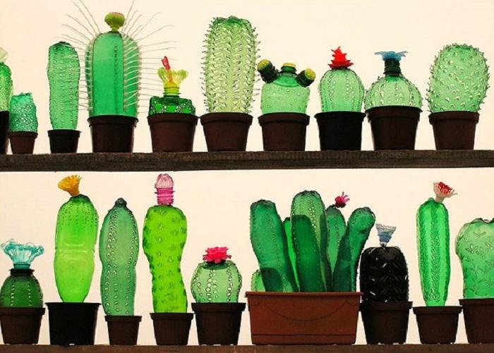 chai nhựa làm đồ trang trí