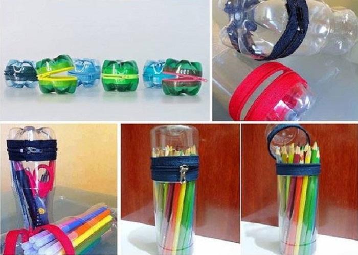 làm hộp bút bằng chai nhựa