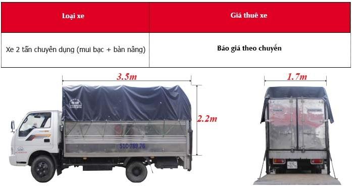 Thông tin về taxi tải chở hàng